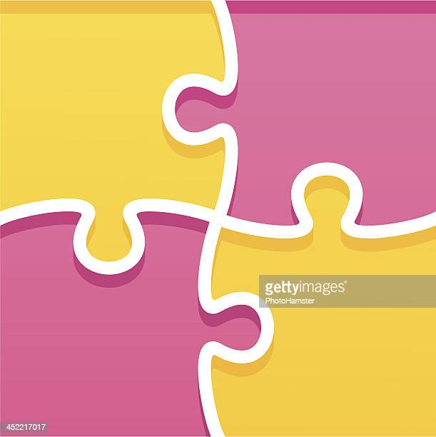 pink and yellow jigsaw puzzle graphic - part of stock illustrations, clip art, cartoons, & icons