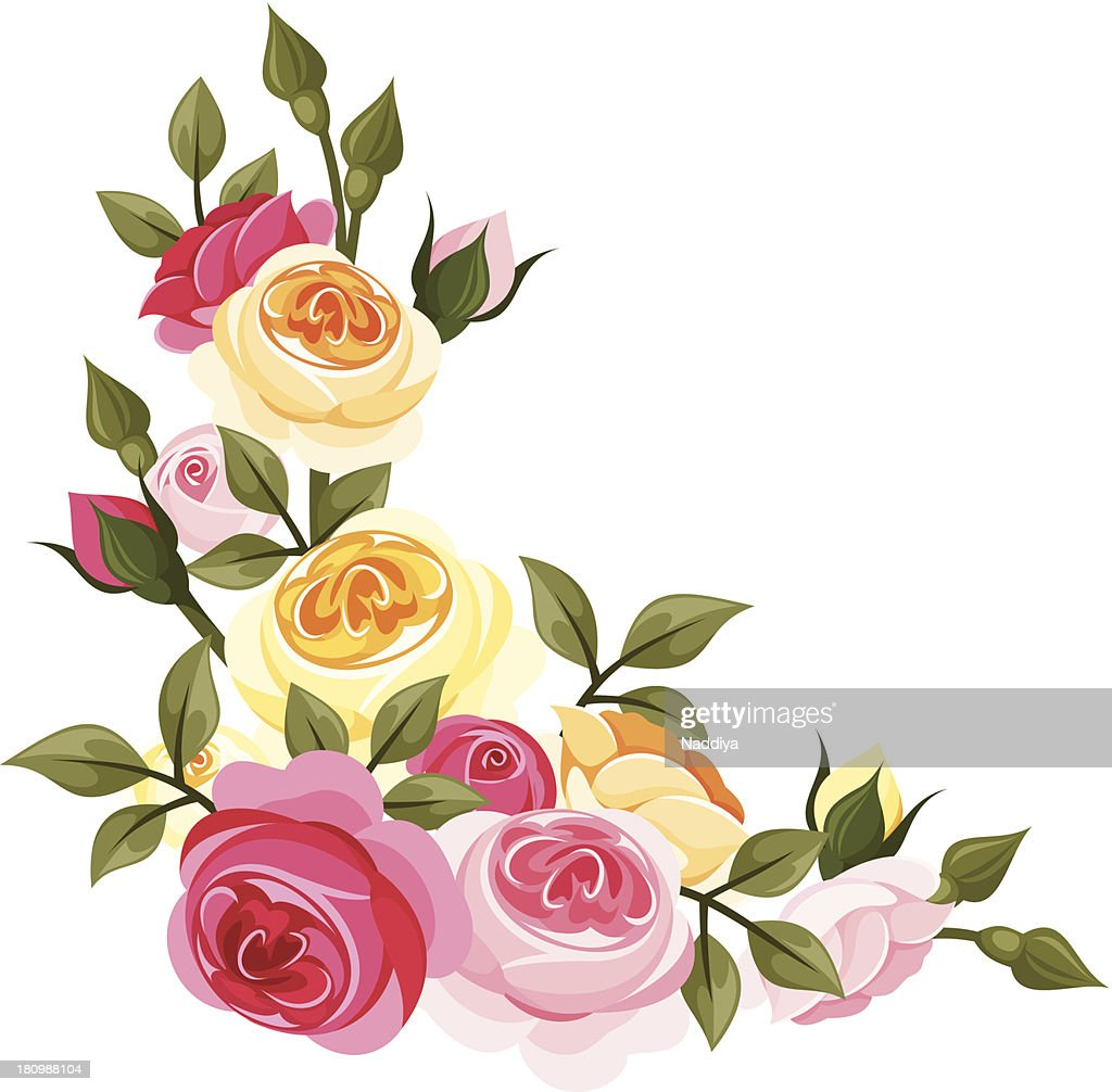 Pink and yellow vintage roses. Vector illustration.
