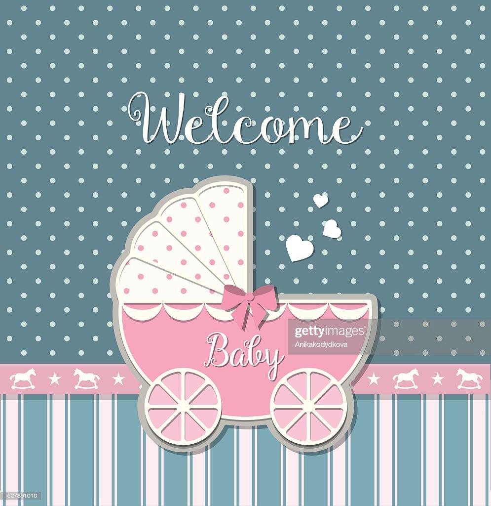 Pink baby stroller, illustration