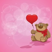 Pink background with Teddy bear