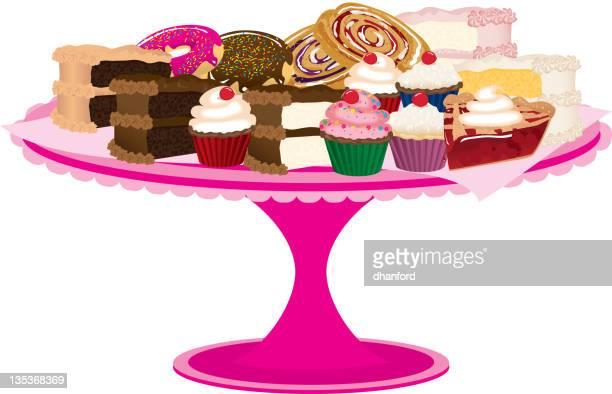 ピンクの自家製デザートやスイーツの盛り合わせ