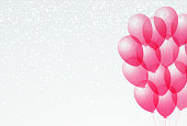 bunch bright transparent balloons white background