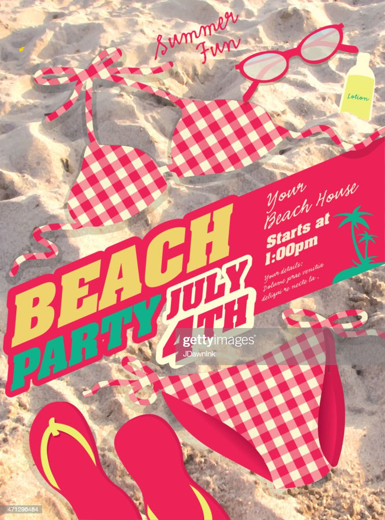 Pink Bikini and sand Beach party template invitation design