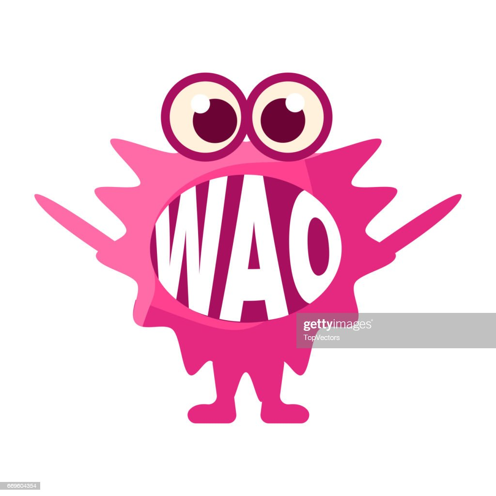 pink blob saying wao cute emoji character with word in the mouth