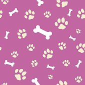 Pink bone and paw texture