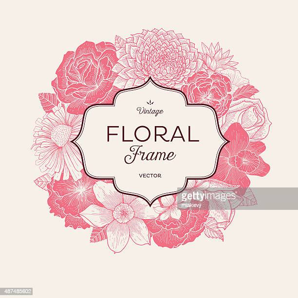 pink bouquet label - rose flower stock illustrations, clip art, cartoons, & icons