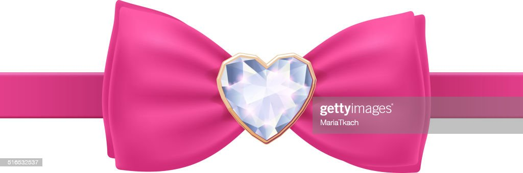 Pink bow tie with heart diamond brooch.