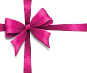 Pink bow with heart pattern wrapping a white gift