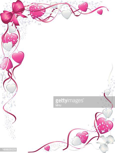 pink bows and hearts valentines corners - corner marking stock illustrations, clip art, cartoons, & icons