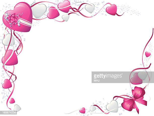 pink bows and hearts valentines frame horizontal - corner marking stock illustrations, clip art, cartoons, & icons