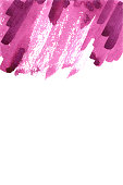 Pink bright watercolor hand drawn paper texture strip stain on white background