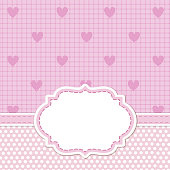 Pink card invitation for baby shower
