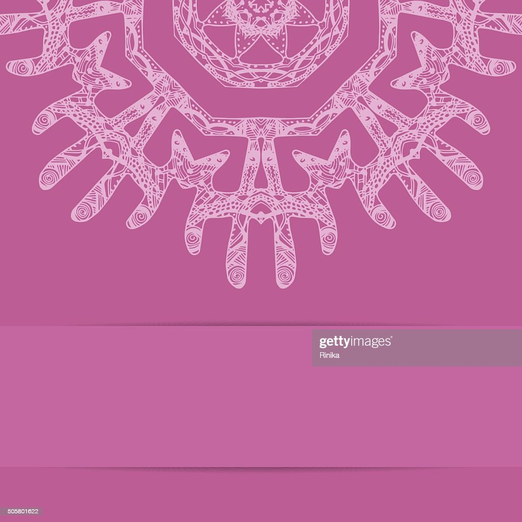 Pink card with ornate style pattern