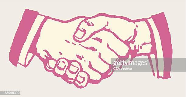 pink cartoon close-up of handshake - shaking stock illustrations