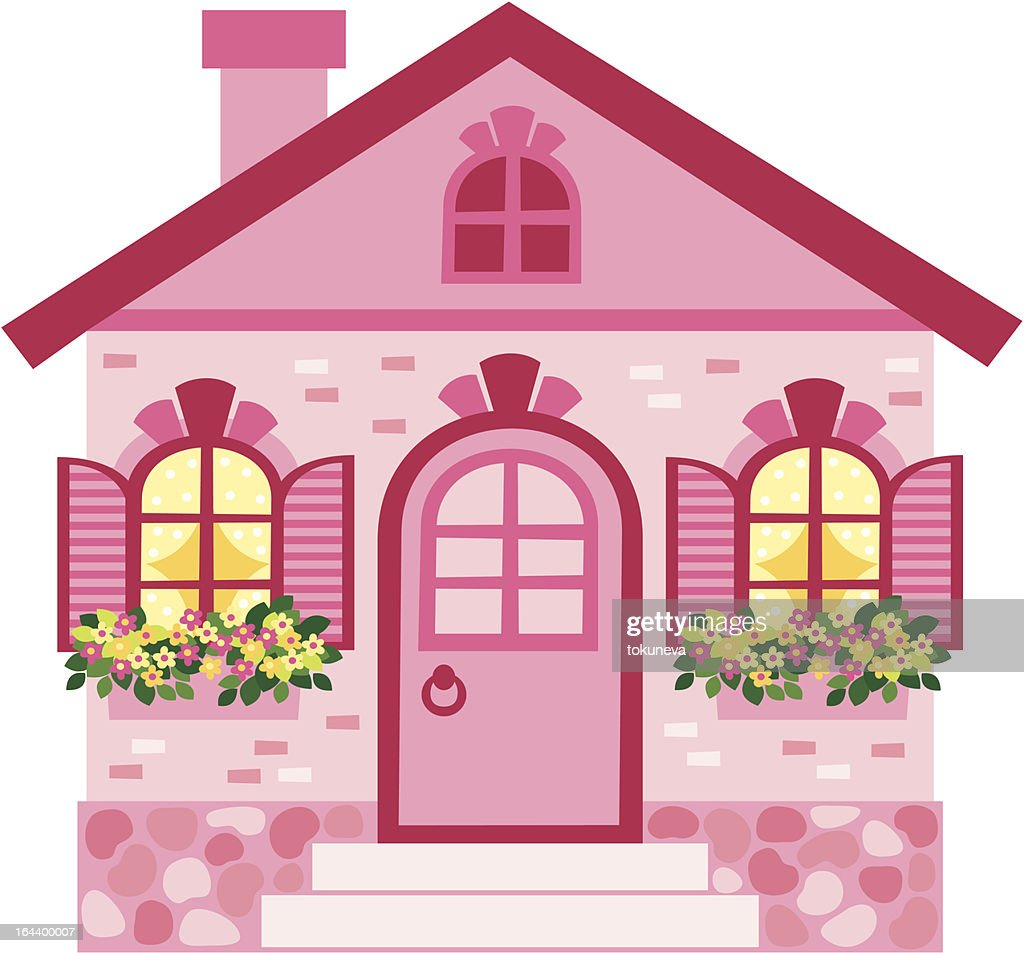 2d Pink Cartoon House With Flowers Vector Art Getty Images