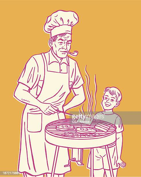Pink cartoon of man & boy grilling meat on orange background