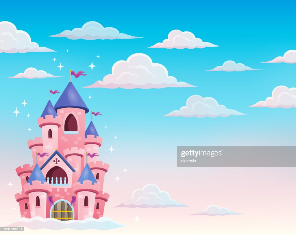 Pink castle in clouds theme 1