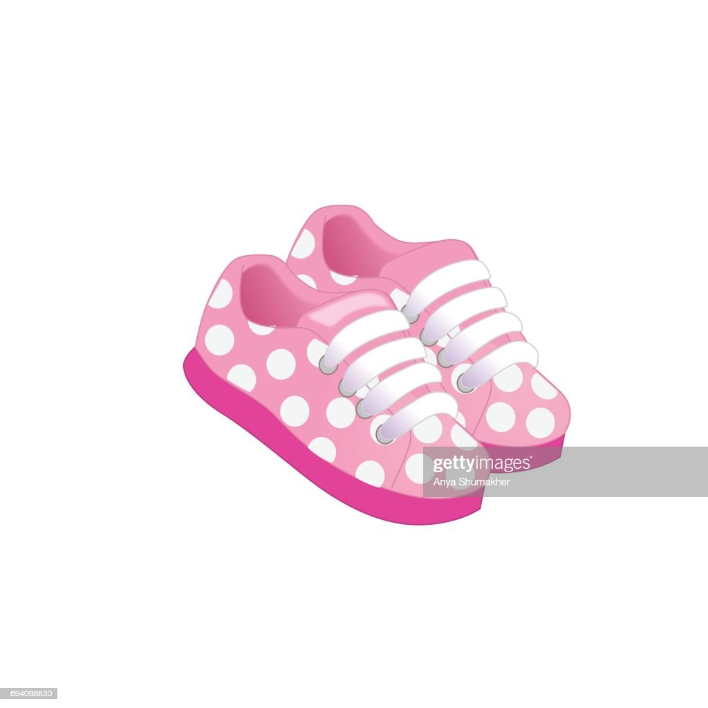 Pink childrens or young adult shoes, pair kids sneaker, pink girls shoes.