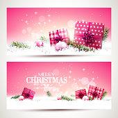 Pink Christmas banners