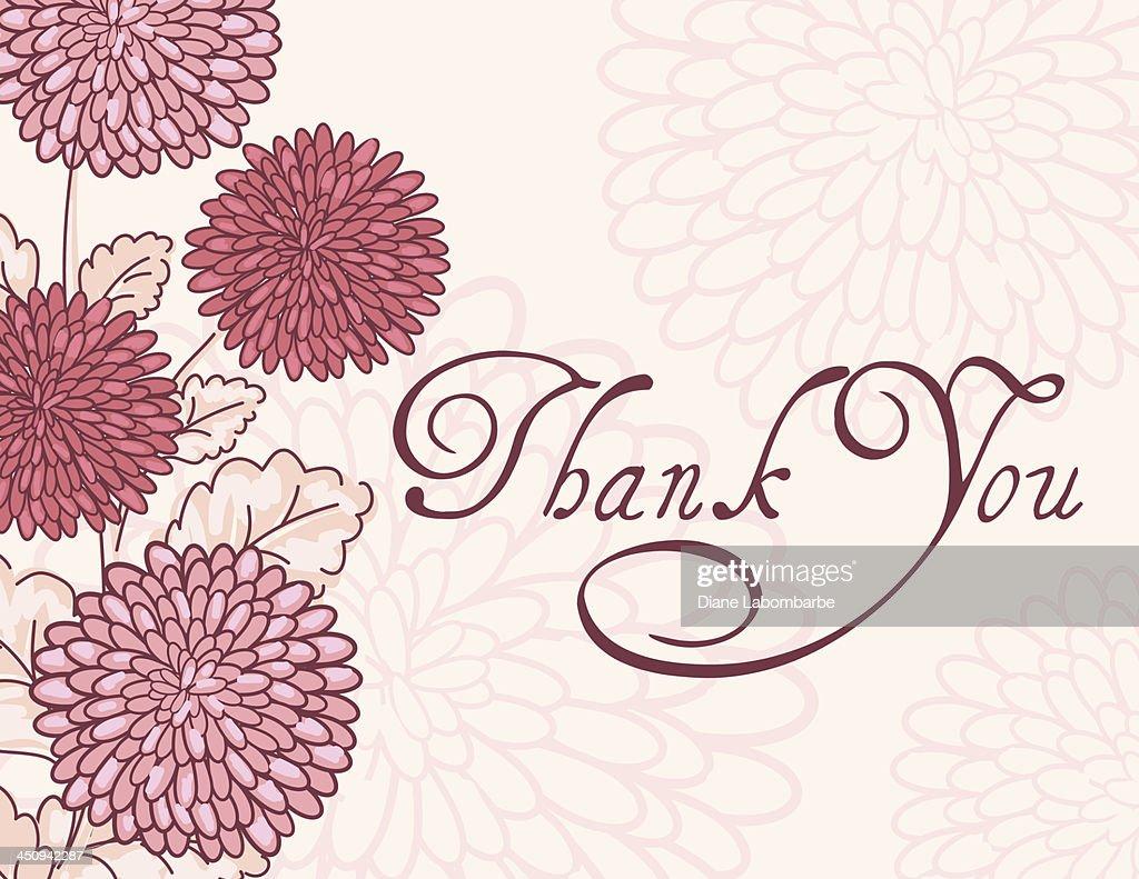 Rosa crisantemo Tarjeta de agradecimiento para : Ilustración de stock