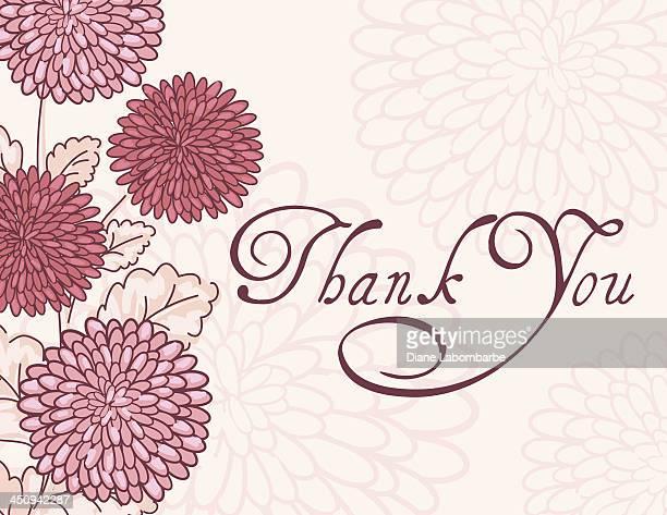 ilustraciones, imágenes clip art, dibujos animados e iconos de stock de rosa crisantemo tarjeta de agradecimiento para - gracias