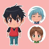 pink color set cute anime tennagers with variety facial expressions