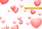 Pink colored balloons image of hearts isolated on transparent background