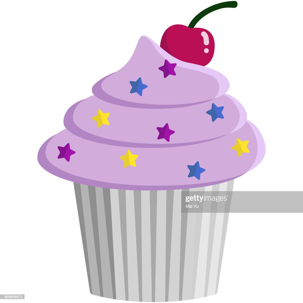 Pink Cupcake and Sprinkles Illustration