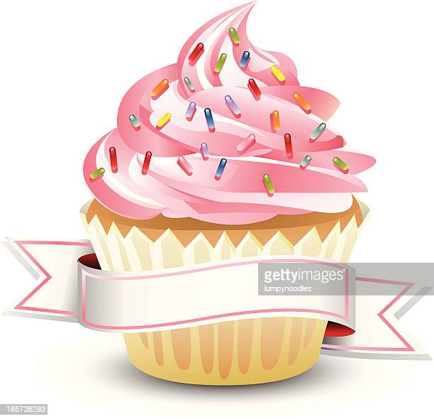 pink cupcake with banner - icing stock illustrations