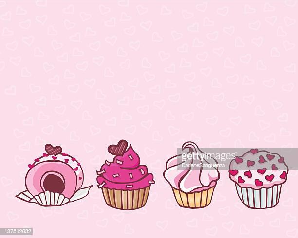 ilustrações, clipart, desenhos animados e ícones de cupcakes cor-de-rosa - bolinho