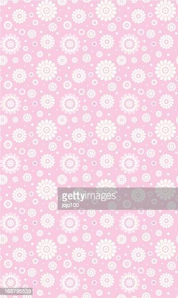 pink daisy & polka pattern in a seamless repeat - pink background stock illustrations, clip art, cartoons, & icons