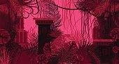 Pink dense foliage exotic nature background