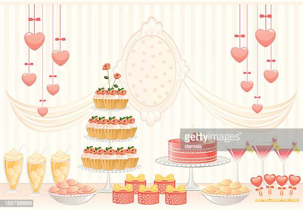 pink dessert table - macaroon stock illustrations, clip art, cartoons, & icons