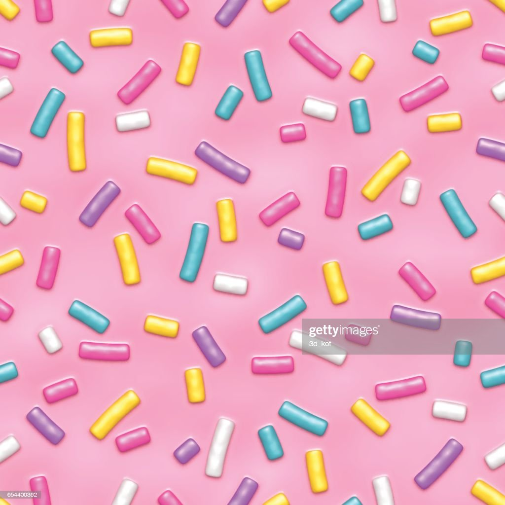 Pink donut glaze with sprinkles seamless pattern