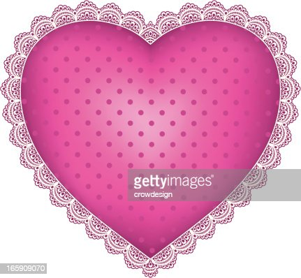 Pink Dotted Heart With Lace Border High-Res Vector Graphic ...