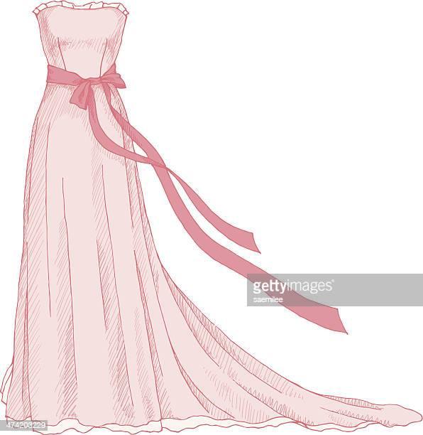 ilustraciones, imágenes clip art, dibujos animados e iconos de stock de vestido rosa - vestido de novia