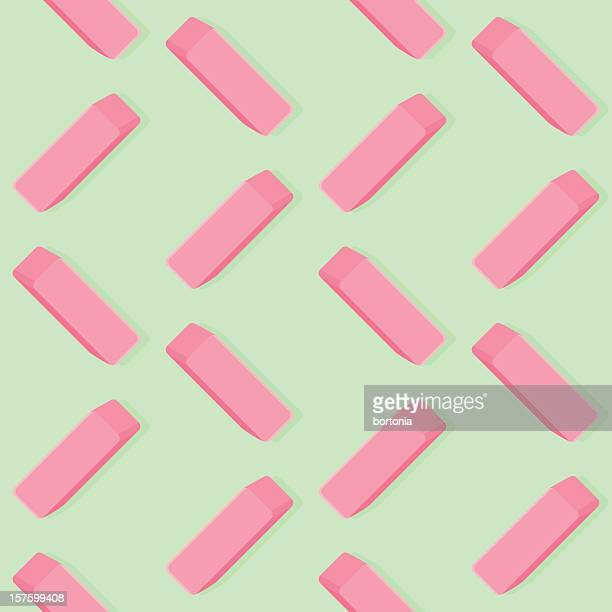pink eraser seamless pattern - eraser stock illustrations