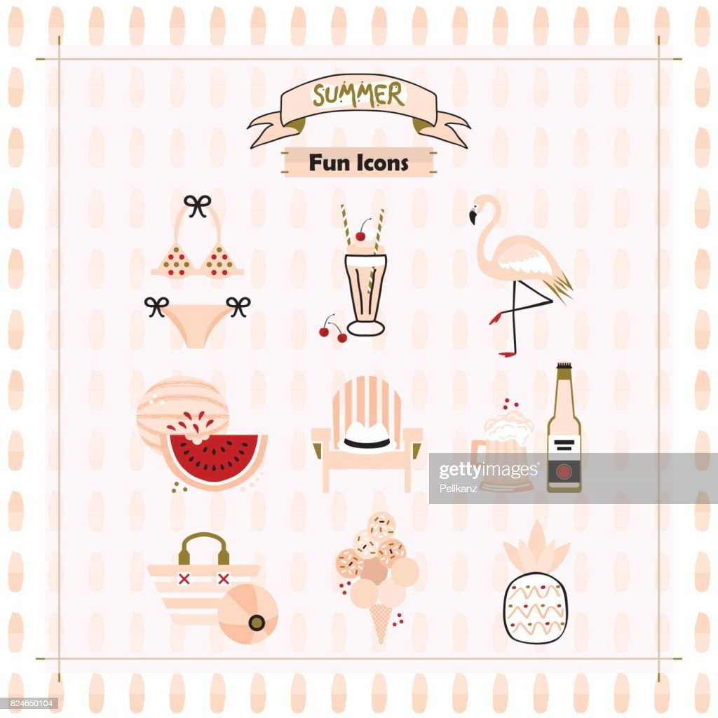 Pink fashion trends summer and beach fun icons set on pattern background
