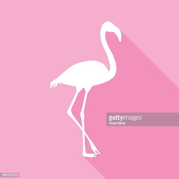 pink flamingo icon - flamingo stock illustrations, clip art, cartoons, & icons