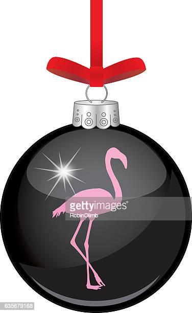 pink flamingos christmas ornament - flamingo stock illustrations, clip art, cartoons, & icons