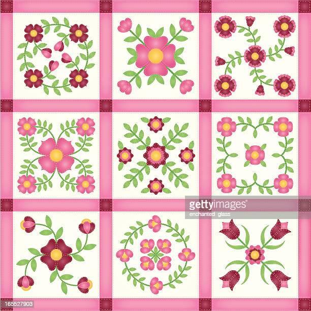 ilustraciones, imágenes clip art, dibujos animados e iconos de stock de rosa flor applique colcha de retales cuadras - aplique arte de la costura