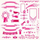 Pink flowers design elements set.