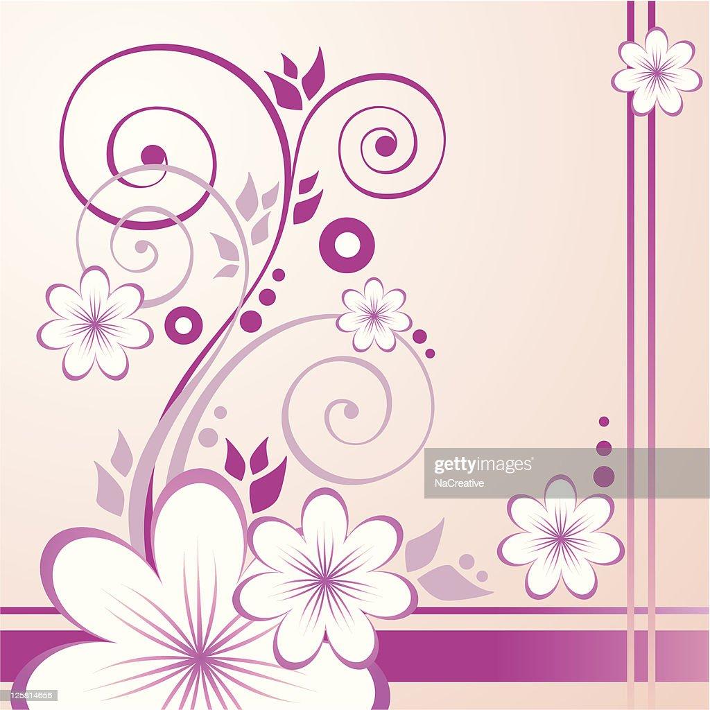 Pink Flowers with swirls