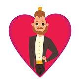 Pink frame, modern prince with brown hair and beard