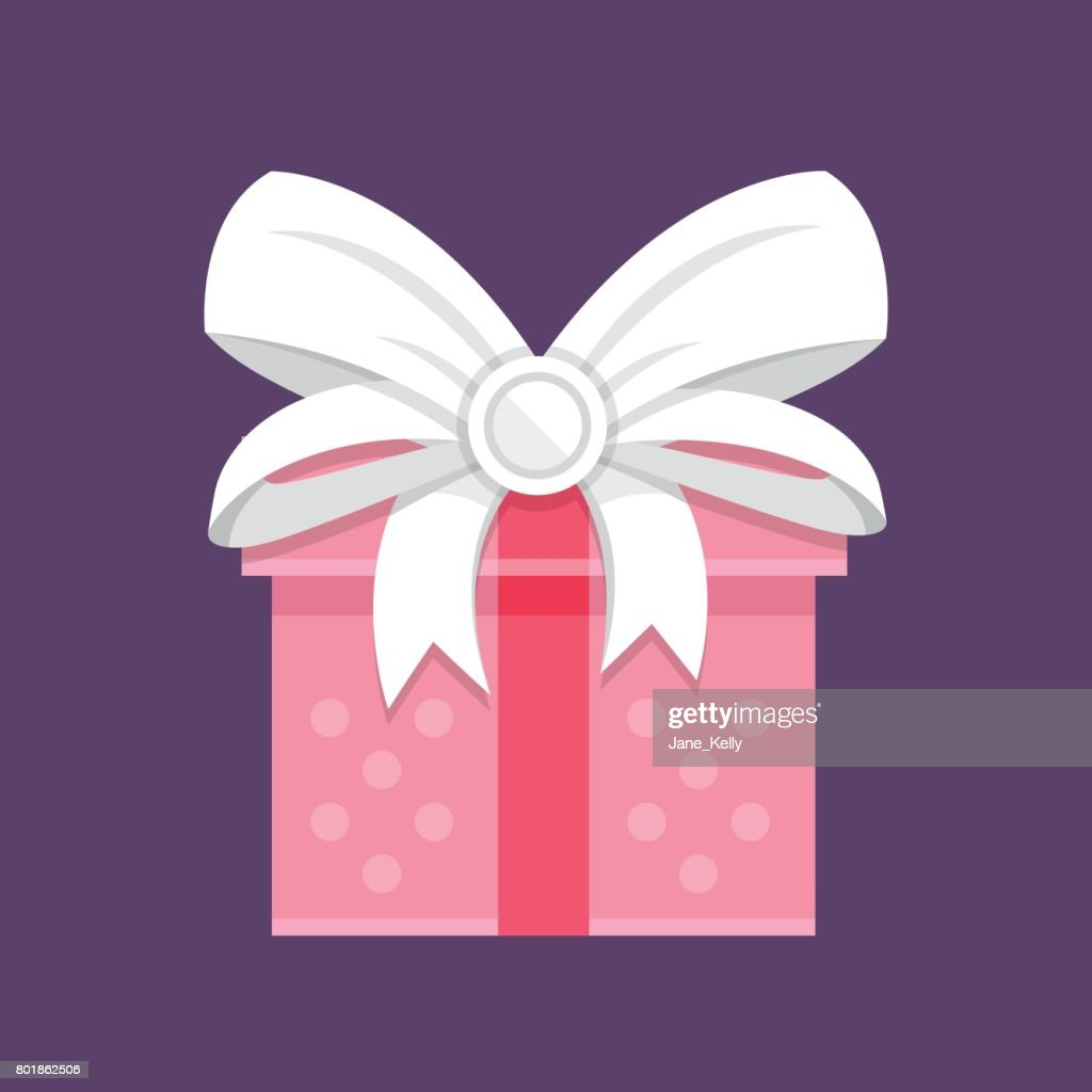 Pink gift box with white bow. Holiday gift, giftbox, present concepts. Modern flat design vector icon