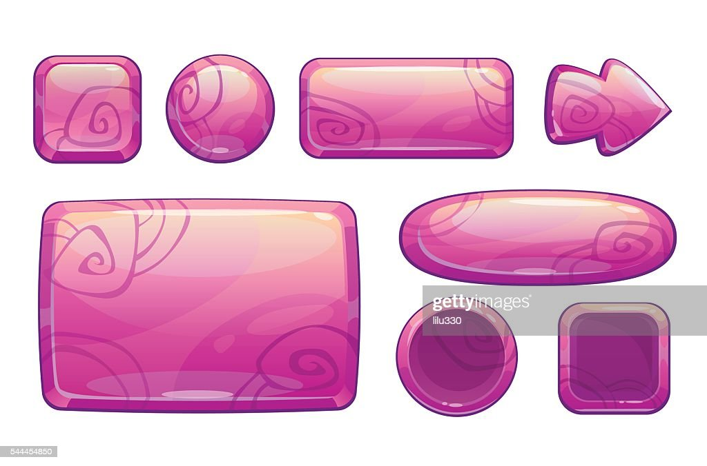 Pink glossy game assets set