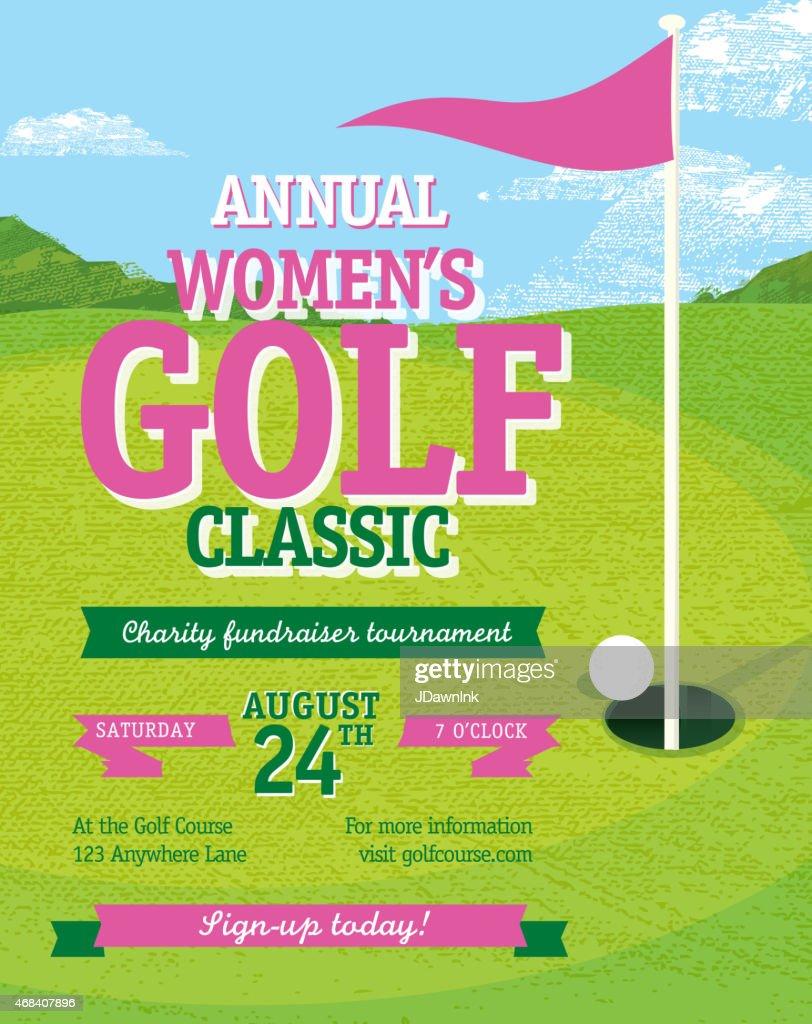 Pink Golf Tournament Invitation Design Template On Golf Green