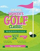 Pink Golf tournament invitation design template on golf green background