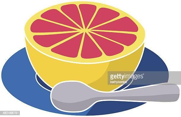 ilustraciones, imágenes clip art, dibujos animados e iconos de stock de pomelo rosa media - pomelo rosa