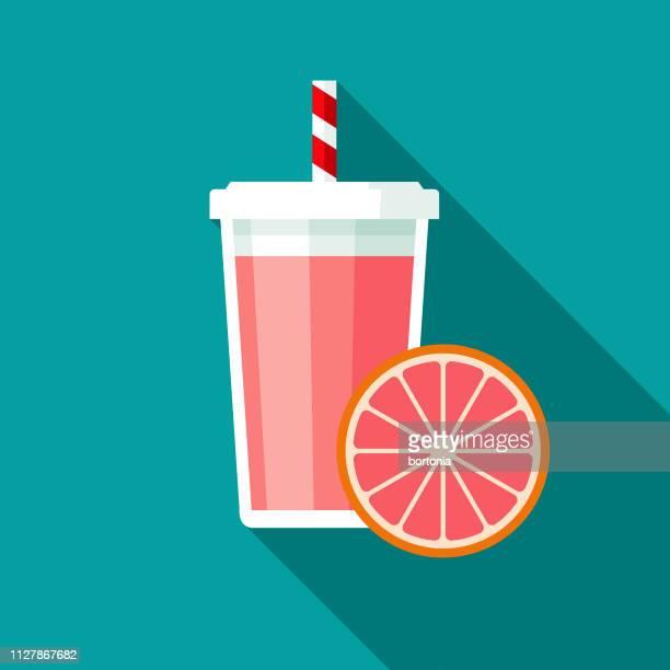 ilustraciones, imágenes clip art, dibujos animados e iconos de stock de icono de batido de pomelo rosado - pomelo rosa